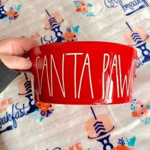 """Rae Dunn Christmas Dog Bowl """"Santa Paws"""""""